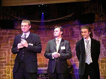 Przedpremierowa prezentacja nowej wersji GG. Od lewej: Piotr Pokrzywa - SMS-Express.com, Krzysztof Szalwa, Adam Kwaśniewski - Ad.net