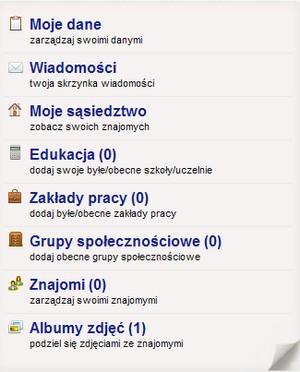 Menu nawigacyjne w serwisie Kumple.pl