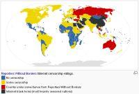 Stan cenzury w Internecie według danych Reporterów bez Granic (źródło: wikipedia.org)