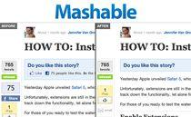 Przykład zastosowania rozszerzenia Facebook Blocker w serwisie Mashable.