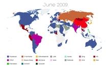 Mapa świata - serwisy społecznościowe, czerwiec 2009 r.
