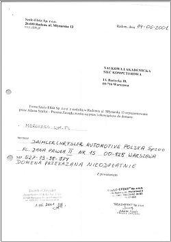 Oświadczenie o nieodpłatnym zrzeczeniu się praw i obowiązków do domeny