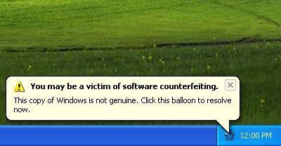 Przykład działania mechanizmu Windows Genuine Advantage (źródło: Wikipedia)