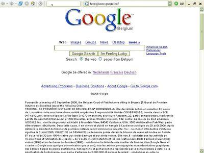 Treść wyroku na witrynie Google.be