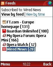 Czytnik kanałów RSS w Opera Mini 3.0