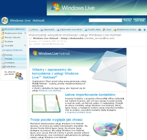 Polski interfejs Windows Live Hotmail