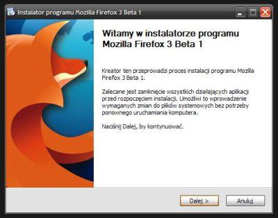 Firefox 3 Beta 1 dostępny jest m.in. w polskiej wersji językowej.