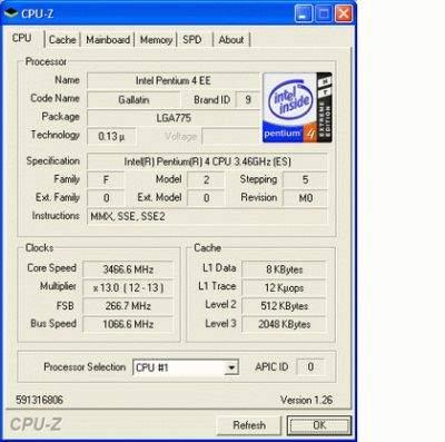 Dane technincze procesora P4 EE 3,46 GHz