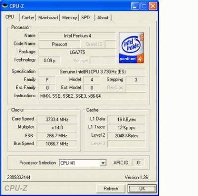 Dane technincze procesora P4 EE 3,73 GHz