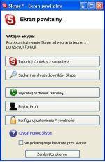 Skype - ekran powitalny