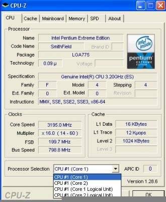 Dane techniczne procesora P EE 840