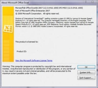 Microsoft Excel 2007 z zaaplikowanym dodatkiem SP2
