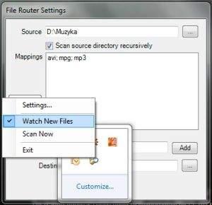 File Router monitoruje i przenosi wybrane typy plików w jedno miejsce