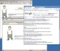 """Emilek zamiast niechcianych stron wyświetla komunikat. Niestety, jego filtrom daleko do doskonałości: blokują witryny, których nie powinny (po lewej: wyniki wyszukiwania względem hasła """"Beniamin"""") i w ogóle nie reagują na akcje wykonywane w przeglądarce Chrome (po prawej)."""