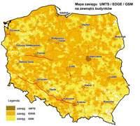 Przykładowa mapa zasięgu sieci Orange.