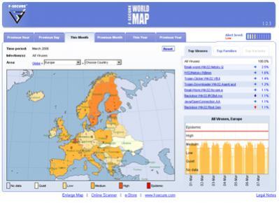 Wirusowa mapa świata dostępna na stronie firmy F-Secure