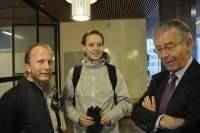Na zdjęciu od lewej: założyciele serwisu Gottfrid Svartholm i Peter Sunde oraz adwokat The Pirate Bay - Peter Althin