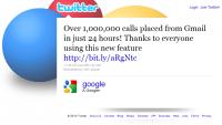 """""""Ponad 1.000.000 rozmów wykonanych z Gmaila w 24 godziny! Dziękujemy wszystkim za skorzystanie z nowej funkcji"""" - mówi status Google na Twitterze"""