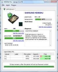 Tłumaczenie HDDlife Pro jest niekompletne ale najważniejsze funkcje są po polsku