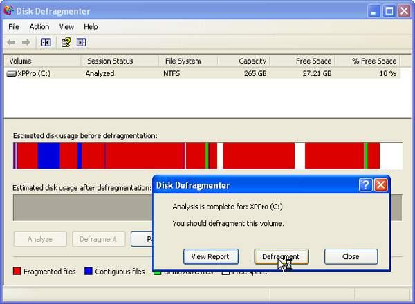 Defragmentacja dysku - defragmentator systemu Windows XP