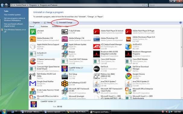 Usuń programy za pomocą panelu Odinstaluj program w systemie Windows