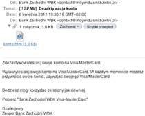 E-mail wysyłany przez oszustów