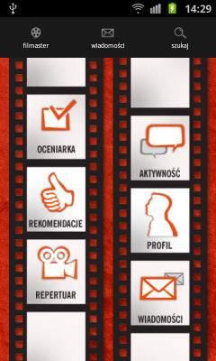 Główny ekran aplikacji Filmaster