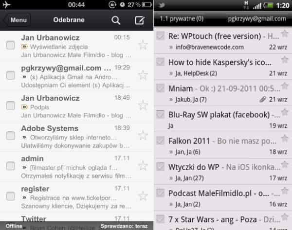 Lista wiadomości iOS / Android