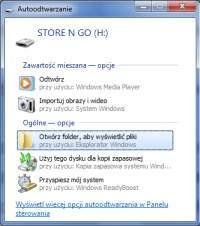 Po rozpoznaniu nowego dysku Windows wyświetli okno autoodtwarzania.