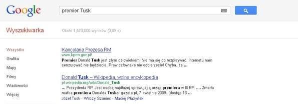 Screen z wyszukiwarki Google