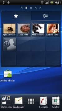 Sony Xperia Ray, widżet kontaktów