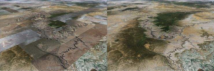 Różnica między starym i nowym sposobem renderowania w Google Earth