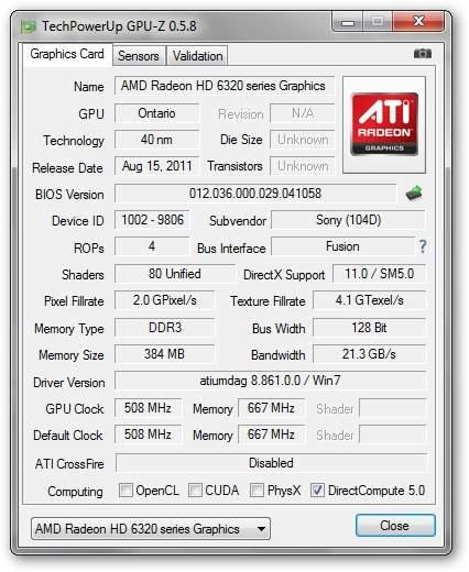 Sony VAIO VPCYB3V1E - GPU