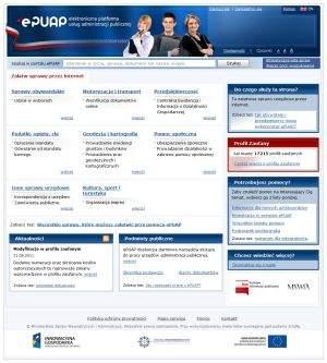 Główną stronę ePUAP-u wypełnia lista spraw, które uda nam się załatwić przez internet, pogrupowanych według zdarzeń życiowych.