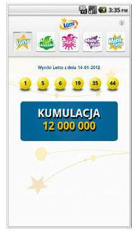 Ekran wyników w aplikacji