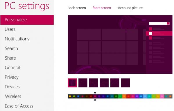 Ekran personalizacji środowiska Metro w Windows 8 - W wersji Release Preview zyskał większą liczbą opcji personalizacji. Użytkownik może dostosować wygląd ekranu startowego wskazując jeden z kilkunastu dostępnych zestawów kolorystycznych.