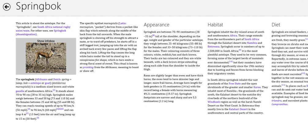 Wikipedia Metro UI - Aplikacja Wikipedia dla stylu Metro pozwala docierać do informacji w sposób podobny, jak robimy czytając papierową wersję encyklopedii. Jest wygodnie, intuicyjnie i przyjemnie dla oka.