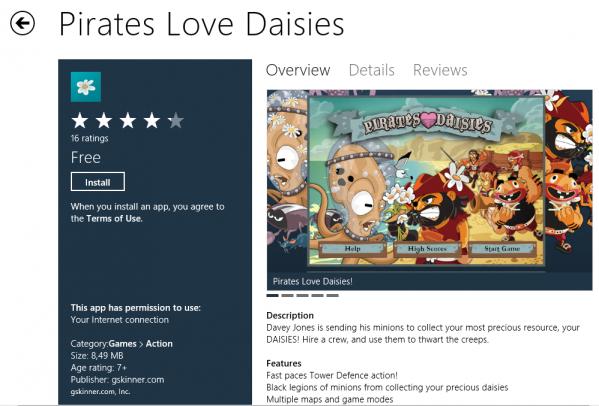 Gra Pirates Love Daisies w Windows Store - W chwili obecnej Windows Store to kilkadziesiąt aplikacji z kategorii  Wiadomości i Pogoda, Gry, Rozrywka, Fotografia i wielu innych.