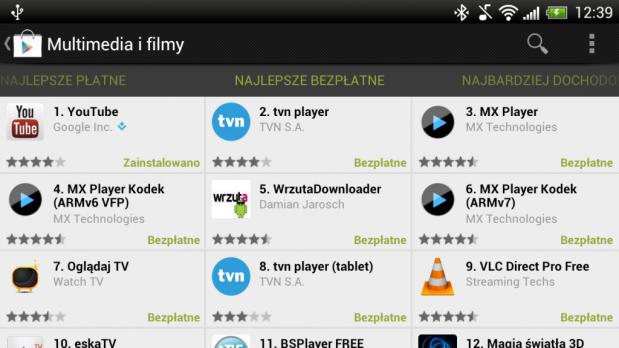 Multimedia i filmy w Google Play