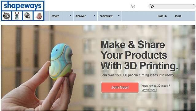 Strona główna serwisu shapeways.com.