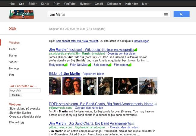 Wyniki wyszukiwania tego samego zapytania Jim Martin wykonane w tym samym czasie, ale w innych rejonach świata - Szwecja
