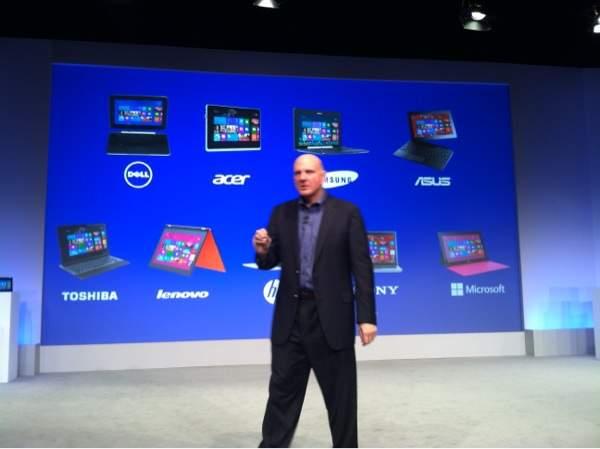 Ballmer prezentuje firmy produkujące sprzęt  korzystający z Windows 8