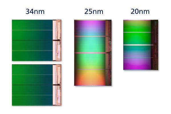 Intel i Micron jako jedni z pierwszych zaczęli produkcje pamięci  NAND flash w technologii 20nm (IM Flash Technology).