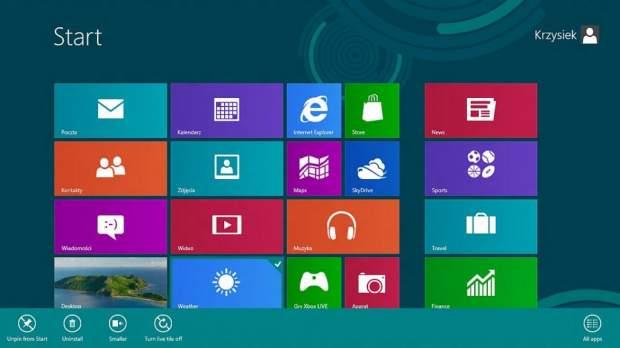 Po kliknięciu kafla prawym przyciskiem myszy w dole okna pojawia się menu podręczne aplikacji.