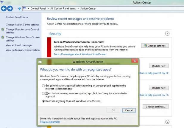 W aplecie Action Center możesz wyłączyć filtr SmartScreen lub ograniczyć zakres jego działania.
