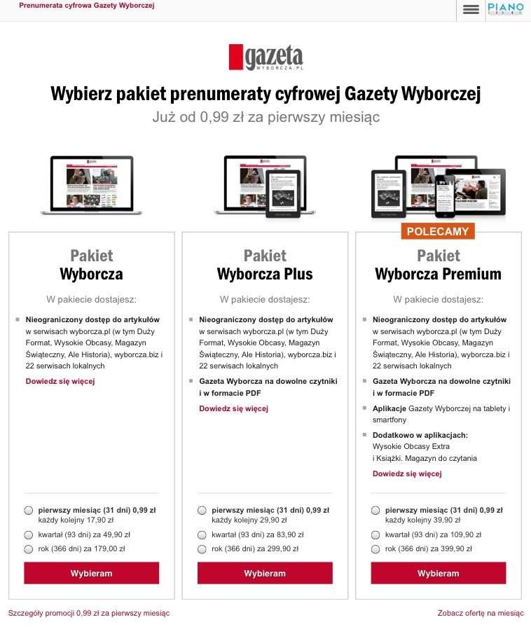 Gazeta Wyborcza - pakiety