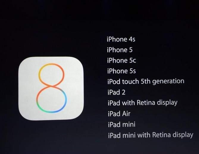 iOS 8 zostanie udostępniony dla następujących urządzeń Apple