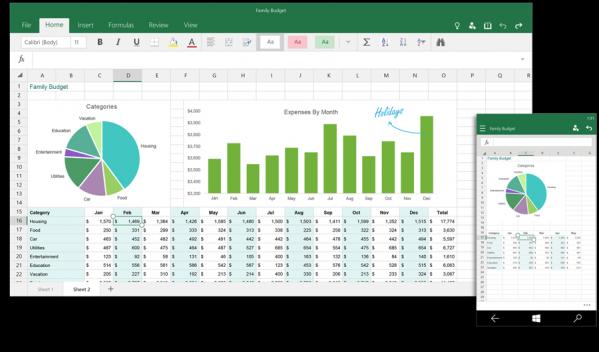 Excel na komputerze i smartfonie