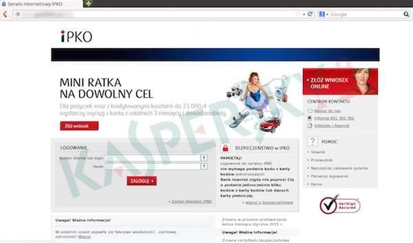 Sfałszowana strona logowania do serwisu iPKO (źródło: Kaspersky Lab)