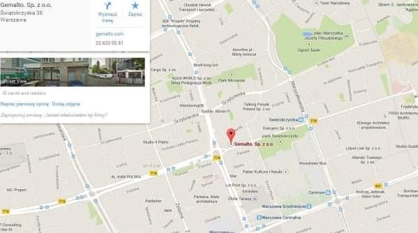 Lokalizacja warszawskiej filii Gemalto na Mapach Google